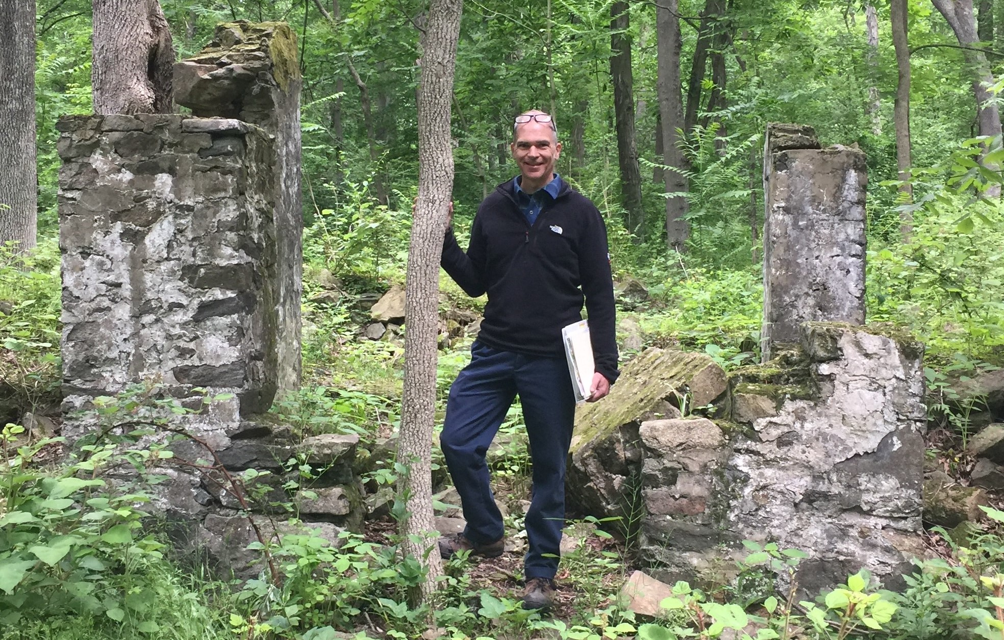 Research at iron forge ruins in Hibernia Park.